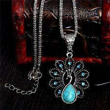 1PC Boho Turquoise Rhinestone Peacock Pendant Necklace For Women & Girls Gift
