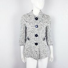 Tory Burch Tweed Boucle Jacket Ivory White Navy Blue Size 4 Cropped Blazer