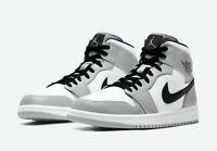 Nike Air Jordan 1 Mid Shoes Light Smoke Grey Black White 554724-092 Men's NEW
