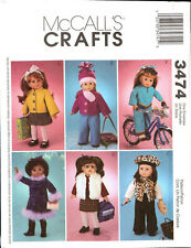 """2001 McCall's Crafts 18"""" Doll Clothes 31 Pieces Pattern No. 3474"""