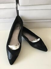 New PAPELL Womens Black Suede Leather Flat Pump Shoes Sz 6 M Ladies