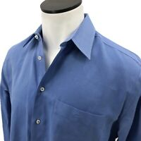 Armani Collezioni Button Down Shirt 16/41 L Blue Cotton Long Sleeve Mens
