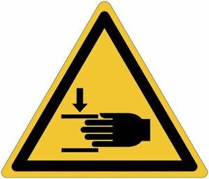 """Cartelli pittogrammi adesivi pericolo ISO 7010  """"Schiacciamento delle mani"""" W024"""