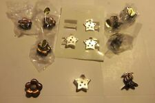 Mixed Lot of 12 Mini Metal Hair Clips Flower Silver Star 3 Finger Clip