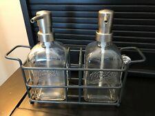 2 Glass MASON Jar Lotion / Hand Soap Pumps with black metal holder