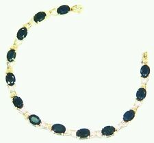 6.71CT 14K Solid Gold Natural Cut Sapphire Tennis Vintage Engagement Bracelet