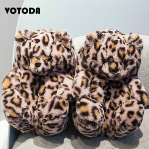 Warm Plush Slippers Teddy Bear Cartoon Cute Bear House Slipper Winter