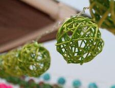 Battery LED Green Rattan Wicker Balls LED Fairy Light String 3 Meters Long