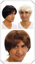 Mens Cosplay Black Brown Blonde Boy Band Star Short Wig Hair Fancy Dress Costume