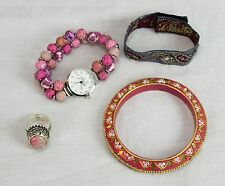 Lot of Cloth Bead Bracelet Enamel Bangle Jilzara Watch Sterling Silver Ring Pink