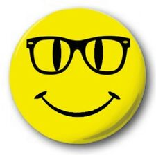"Geek Glasses Smiley 25mm 1"" Button Badge - Nerd Swot Specs Emo Student"