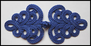 Extra large blue Chinese Frogs fasteners jacket closure buttons handmade 2 pairs
