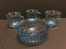 3 Cups And 1 Bowl Vintage Fortecrisa Blue Azure Ice Blue Ribbed Glass Pattern
