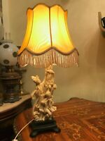 Vintage Lamp Italian Santini Alibast Table Lamp Mythologic Chinese Motive