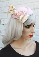 Pink Floral Vintage Style Mini Hat 1950S Style Rockabilly Races Funeral Bridal