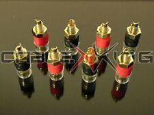 8 x Insulated Speaker Binding Posts / Terminals. Premium 24k Gold Plate for 4mm