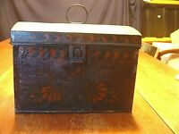 Early Antique 19ThC Painted Toleware Document Box