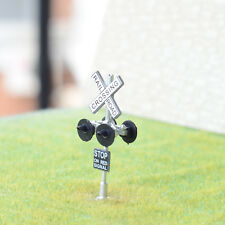 1 x HO Scale railroad crossing signals LED made 4 target faces silver