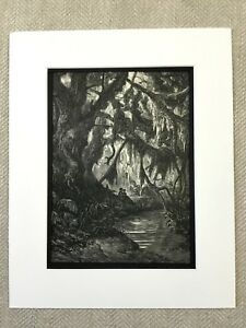 1870 Haunted Forest Atala Chateaubriand Fantasy Art Gustave Dore Antique Print