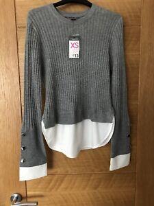 Jumper Shirt Combo Grey & White Ladies Size 6-8