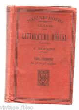 Manuali Hoepli - Letteratura Romana  di F. Ramorino 1915  - IX^ edizione