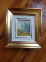 Cadre en bois profond  et doré pour petit tableau : 23 X 21 CM :Danielle Courtot