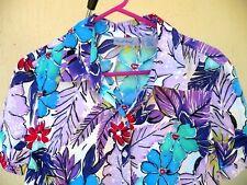 Vtg 90S Coral Bay M L P Purple Hawaiian Floral Cotton Rayon Shirt Blouse Women