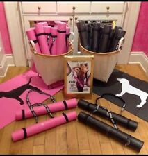 Victoria's Secret PINK Yoga Mat Gym Sport Exercise Dog Logo with Strap BLACK NWT