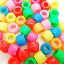 100 x Mixed Colour Barrel Pony Beads Plastic Acrylic 8x6mm Dummy Clip Making