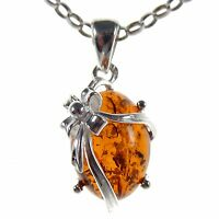 BALTIC AMBER STERLING SILVER 925 PRESENT GIFT PENDANT NECKLACE CHAIN JEWELLERY