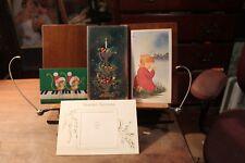 Vintage lot of 4 Christmas Cards 3 Unused 1970's
