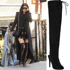 New Ladies Womens Sexy Over The Knee Lace Up Thigh High Fashion Boots Size 3-8