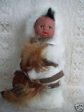"""Navajo Sioux Indian Chief Child Wearing Native American Feather Outfit 7"""" Tall"""