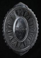 """Vintage 12.5"""" Clear EAPG Glass Bread Plate Platter Cross Reads 'Bread' 20501"""