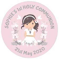 48 PERSONALISED 1ST COMMUNION STICKERS 40mm PARTY BAG SWEETCONE LABELS