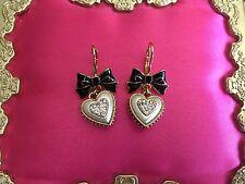 Betsey Johnson Vintage Dollhouse Black Bow White Pearl Heart BE MINE Earrings