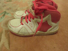 Pineapple Shiny White & Pink Hi Top Trainers in Size 12 UK