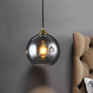 Contemporary Ball Hanging Lamp Stained Glass Bulb Decorative Pendant Light