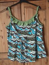 Ladies Plus Size 22/24 Strappy Summer Top Green/Brown/Turquoise