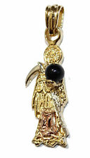 Santa Muerte-Holy Death-Grim Reaper 18K Gold Plated 2 Tone Pendant with Chain