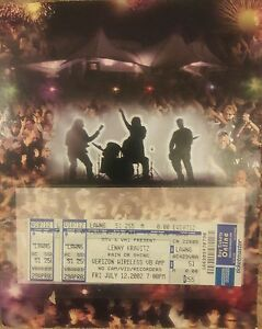 Lenny Kravitz Concert Tickets 7/12/02 Virgina Beach Va. W/Poster W/Ticket Holder