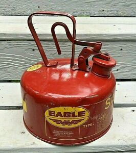 Vintage 1 Gallon Red Metal Eagle Type 1 Safety Gas Can Model UI-10 S Complete