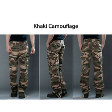 Mens Military Army Pocket Work Straight Camo Cargo Combat Pants Trousers Khaki Camouflage 29
