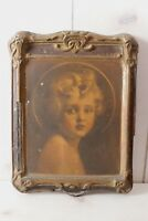 Antique Angelic Young Girl Print Primitive Victorian Distressed Frame Decopage