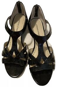 Women's Wedge Sandals Shoes Sz 8 1/2 Black Patent Leather Strappy Back Zipper