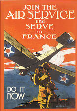 "Carte d'Art: Affiche ""Join the air service and serve in France-DO IT NOW"" USA"