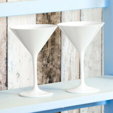 Set of 2 White Reusable Plastic Martini Cocktail Glasses Wine Champagne Saucers