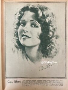 Vintage 30s Magazine Picture CLARA BOW 1930s film star 8x10 clipping It Girl