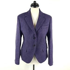 Gant Tweed Blazer Damen Gr. 42 Lila Wolle Leder-Patches Fischgrät Jacke