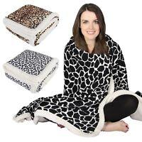 Animal Print Design Luxury Fleece Blanket Soft Sherpa Warm Home Sofa Bed Throw